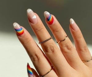 manicure, glitter nails, and pastel nails image