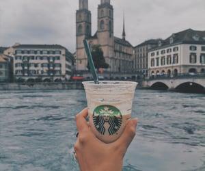 lake, starbucks, and coffee image