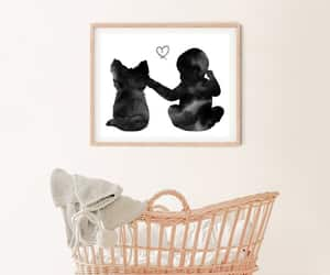 baby animals, baby and dog, and baby girl print image