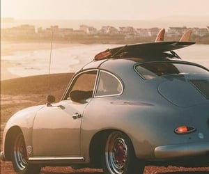 beach, surfboard, and car image