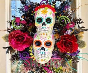 day of the dead, sugar skull, and dia de los muertos image