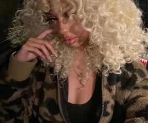 blonde, makeup, and curly image
