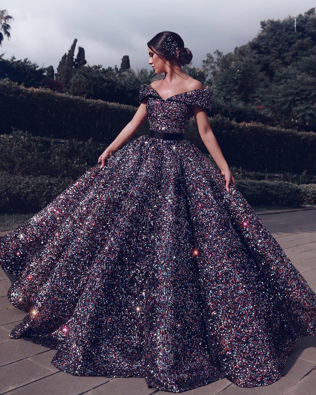glittery, purple, and wedding dresses image