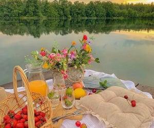 cherries, picnic, and strawberries image