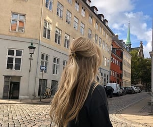 hair, girl, and city image