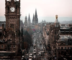 city, clock, and edinburgh image