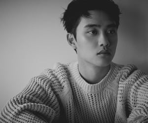 black and white, debut, and exo image