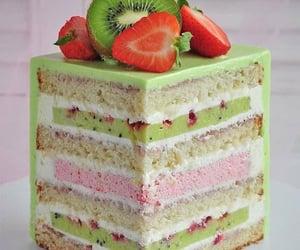 cake, kiwi, and gâteau image