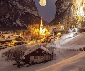 moon, village, and suiça image