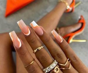 aesthetic, nails, and orange image