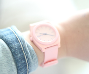 girl, pink, and watch image