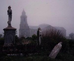 fog, cemetery, and dark image