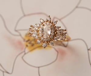 gold, zirconia, and floral ring image