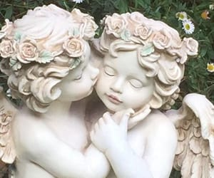 aesthetic, cherubs, and flowers image