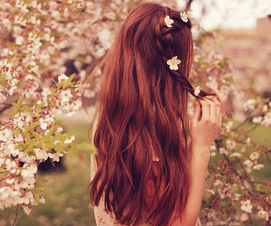 hair, flowers, and girl image