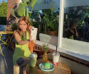 asian girl, sage green, and cafe image