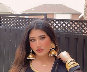 beauty, gold, and all black image