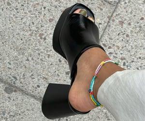accessories, black heels, and chunky heels image