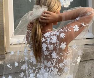 bride and groom, bridesmaids, and wedding dress image