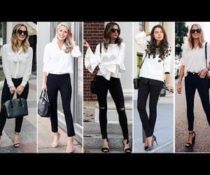 black and white, black jeans, and outfits image