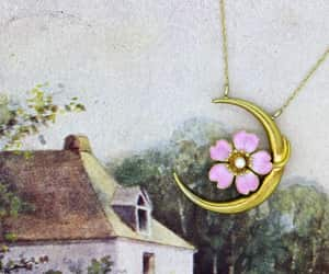 antique, crescent moon, and charm necklace image