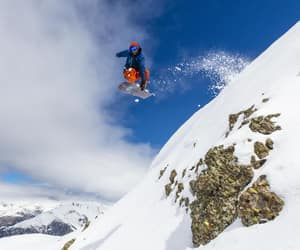 clouds, snowboarding, and mountains image