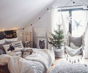 bed, bedroom, and christmas tree image
