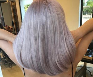 beauty, grey, and pink hair image