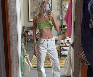 mirror selfie, simple casual, and white denim jeans image