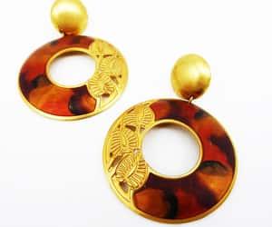 brown, leaves, and pierced earrings image