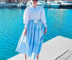 hijab fashion, pleated maxi skirt, and striped skirts image