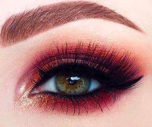 eyes, makeup and red