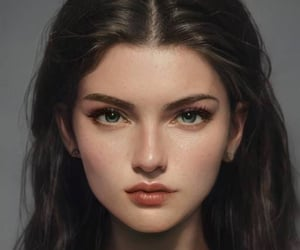 pale, blue eyes, and brown hair image