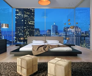 CA – San Francisco, CA, USA. Angle of view is from the Grand Hyatt San Francisco hotel but the room is not in the hotel & the image has been photoshopped. The reflections in the window glass & in the mirror do not match the buildings outside the window.
