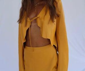 orange skirt, summer, and crop top image