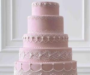cake, pink, and wedding cake image