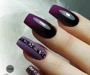 black, glitter, and nail polish image