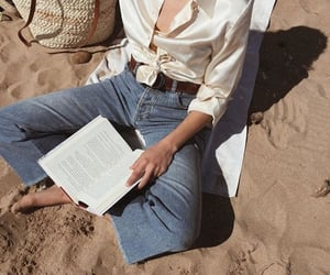 beach, book, and fashion image