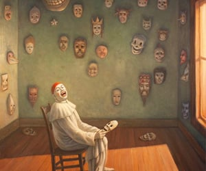 art, clown, and mask image