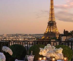 city, paris, and sunset image