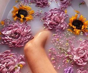 bath, flowers decoration, and flowers petal image
