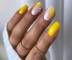 beauty, manicure, and yellow image