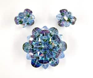 Vendome Brooch Earrings Blue Purple faceted Prism Glass beads image 0