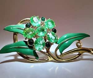 Art Nouveau, emerald green, and gold trim image
