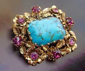 Turquoise Art Glass Austrian Brooch Amethyst Rhinestones image 0