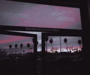 edited, palm trees, and sunset image