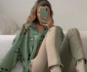 green, shirt, and outfit image