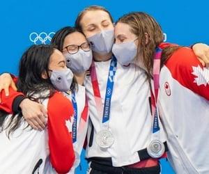 athletes, swim, and medal image