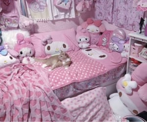 bedroom, cat, and sanrio image