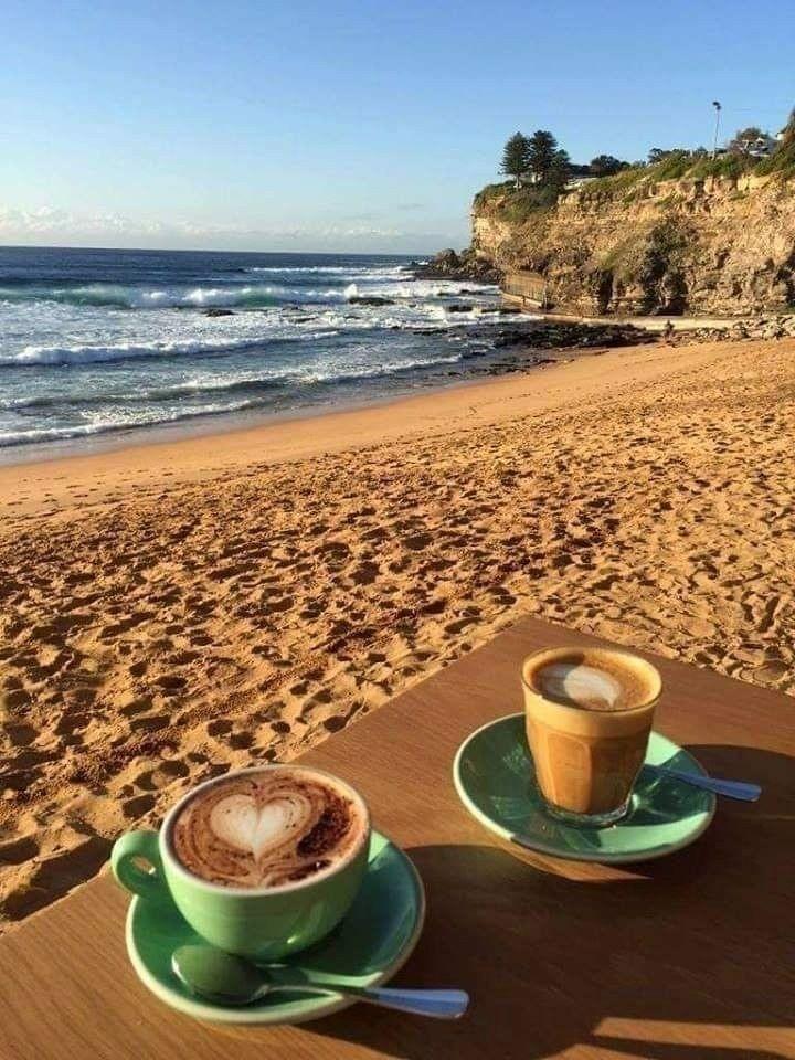 coffee, beach, and sea image